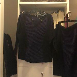 Purple and black sweater skirt set
